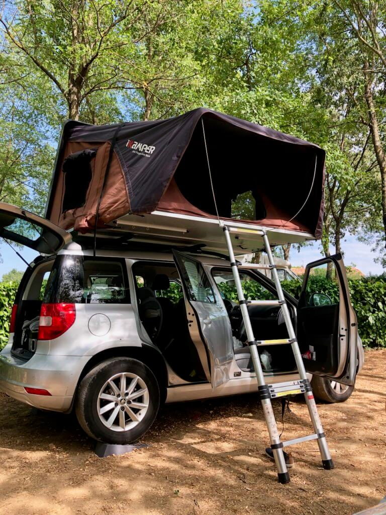 mit dem Dachzelt unterwegs Camping de la Falaise Ardeche